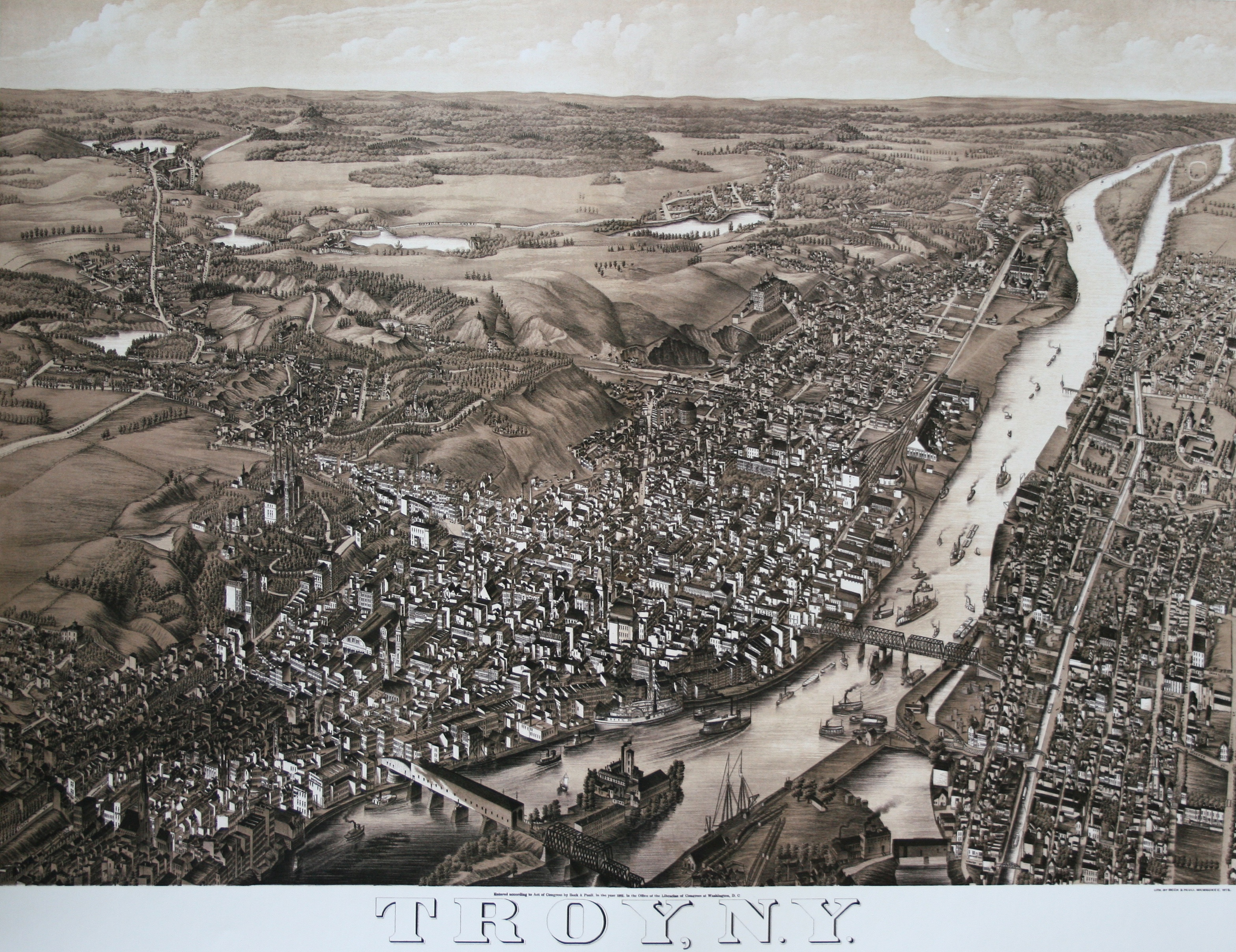 Bird's-eye-view panoramic map by Beck & Paul.  (Library of Congress)