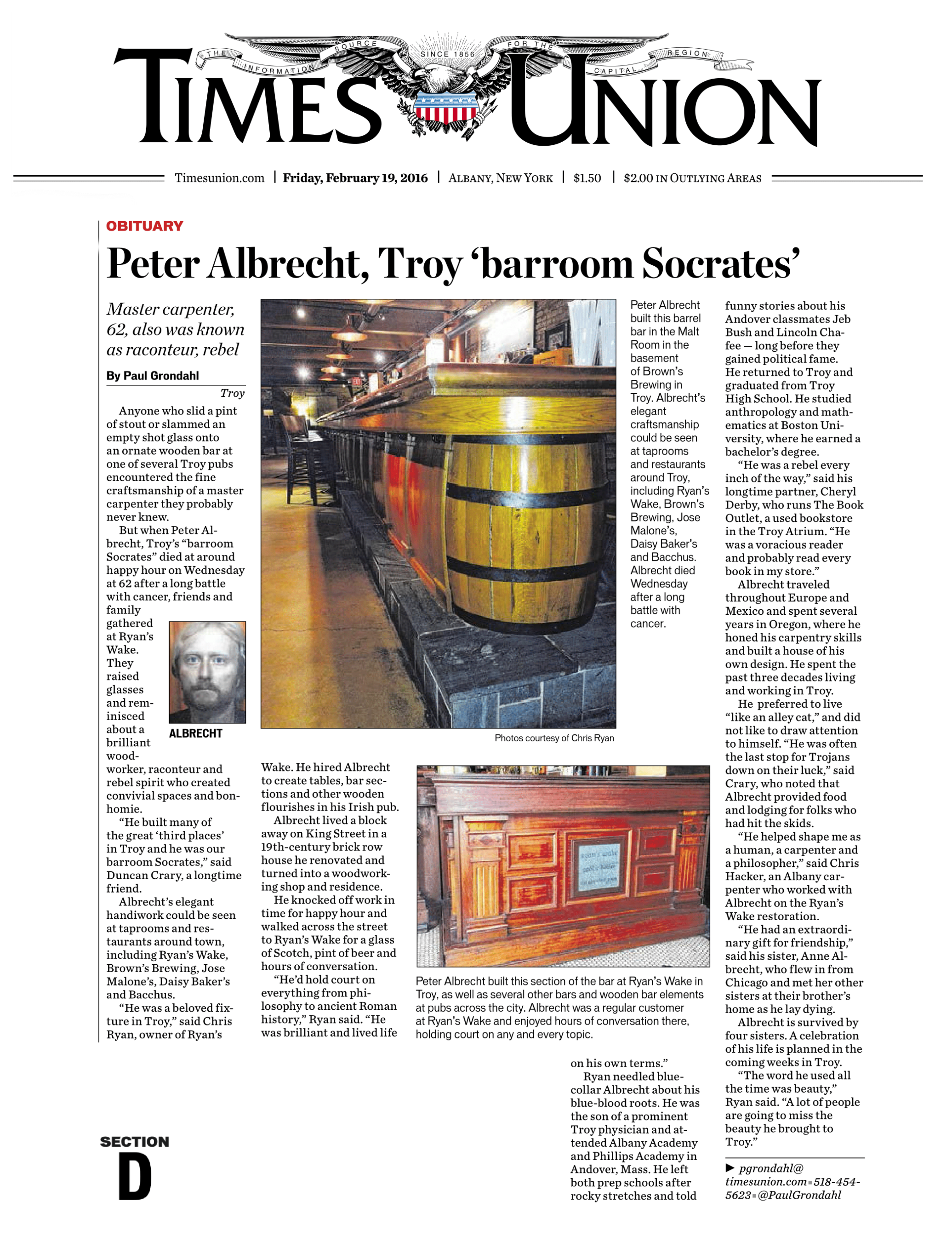 Obituary for Peter Albrecht by Paul Grondahl for The Times Union.